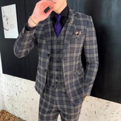 フォーマルスーツ メンズ 発表会 3ピーススーツ 3点セット 披露宴 ビジネススーツ カジュアル メンズスーツ セットアップスーツ 成人式