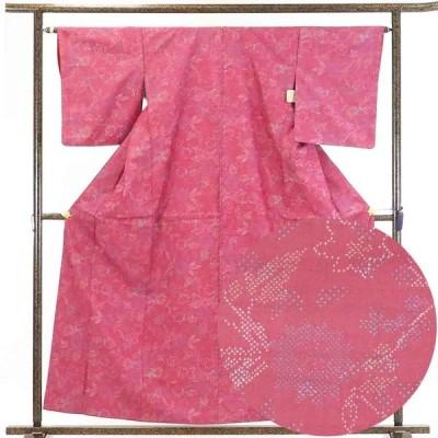 リサイクル着物 紬 正絹ピンク地袷紬着物
