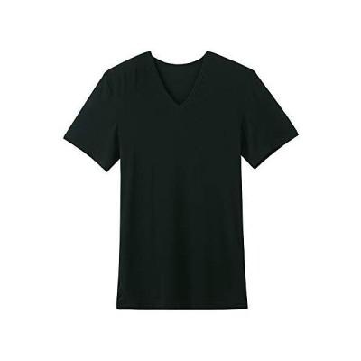 グンゼ Tシャツ BODYWARM なめらかストレッチ Vネック メンズ ブラック M