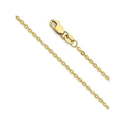 新品  14Kイエローゴールド/ホワイトゴールド製 ロロケーブルチェーンネックレス 純金 1.5mm ダイヤモンドカット カニカン付き  並行輸入品