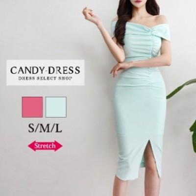 S/M/L 送料無料 Luxury Dress ストレッチ無地×ギャザーデザインオフショルダースリットタイトミディドレス PE200302 韓国 ブランド 韓国