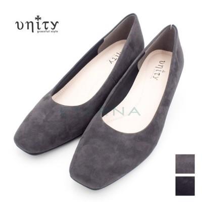 unity ユニティ レディース 靴 パンプス スクウェアトゥ スエード 太めヒール ビジュー 4cmヒール きれいめ おしゃれ 2E 黒 ダークグレー k7750