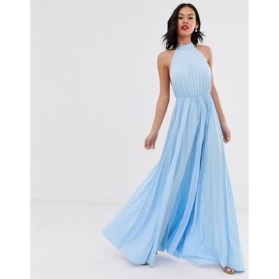 エイソス レディース ワンピース トップス ASOS DESIGN Halter Pleated Waisted Maxi Dress