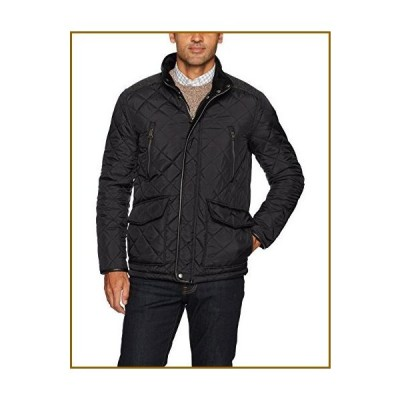 Cole Haan Men's Quilted Jacket with Corduroy Collar, Black, Large【並行輸入品】