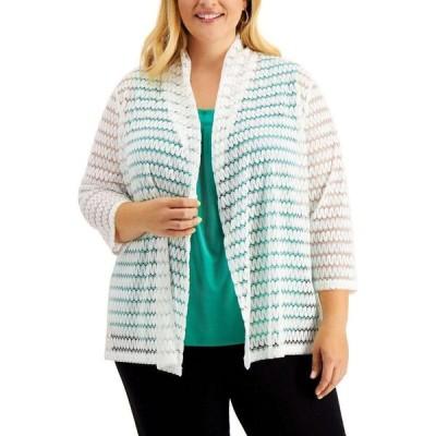 カスパール Kasper レディース カーディガン 七分袖 大きいサイズ トップス Plus Size 3/4-Sleeve Crochet Cardigan Creme White