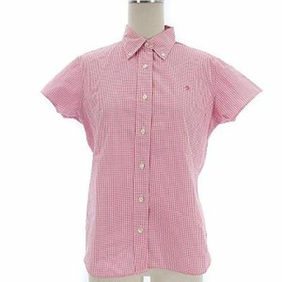 【中古】ラルフローレン RALPH LAUREN シャツ ギンガムチェック ボタンダウン カラー ワンポイント 刺繍 半袖 ピンク