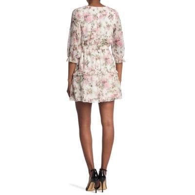 ケネディク レディース ワンピース トップス Ruffle Trim Floral Print Surplice Neck Dress IVORY/PINK
