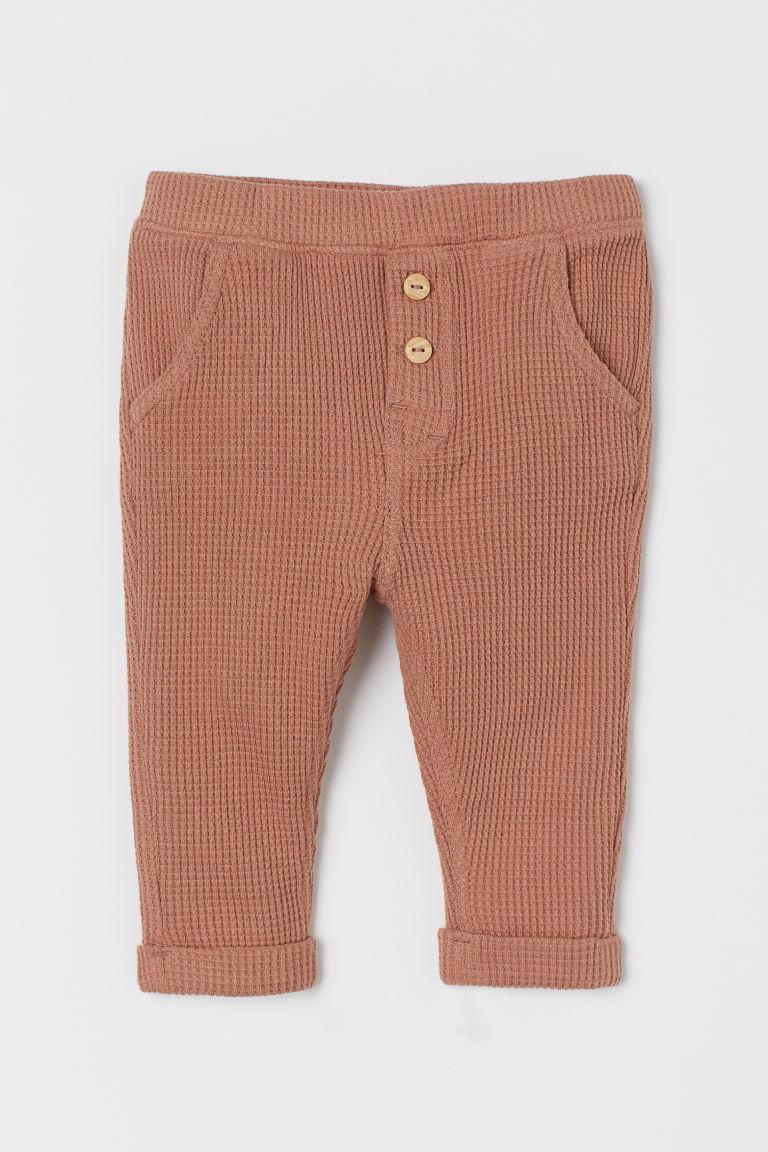 H & M - 華夫格長褲 - 橙色
