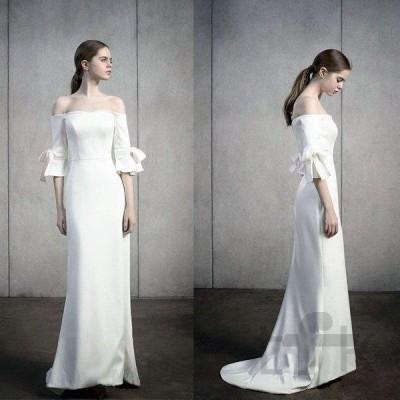 ウェディングドレス ウェディングドレス白 パーティードレス 露背 オフショルダー 花嫁ロングドレス 結婚式 トレーンライン 二次会 お呼ばれ 挙式