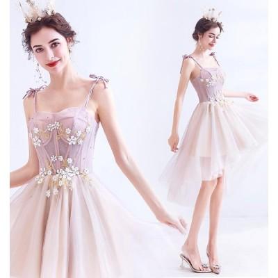 上品 セクシー プリンセス  パーティードレス 花嫁 ウエディングドレス 成人式 結婚式 ドレス 花柄 ショート 20代30代 レディース サスペンダー エレガント