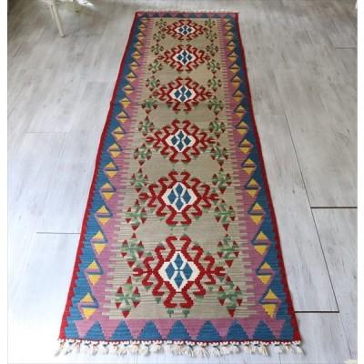 トルコ手織りカイセリキリム・ロングランナー 278x81cm  6つのベレケット/ベージュグレー