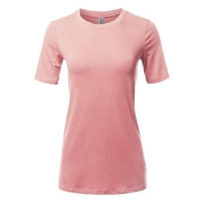 レディース 衣類 トップス A2Y Women's Basic Solid Premium Cotton Short Sleeve Crew Neck T Shirt Tee Tops Dusty Pink S
