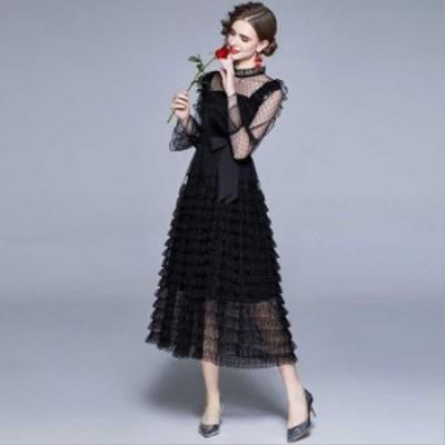 予約商品 大きいサイズ レディース 結婚式 二次会 フリル ティアード ドレスワンピースオーバーサイズ 韓国ファッション ビッグサイズ ot