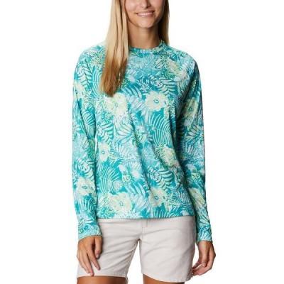 コロンビア カットソー トップス レディース Women's Super Tidal Tee Omni-Shade T-Shirt Tropic Water Batik Floral Print