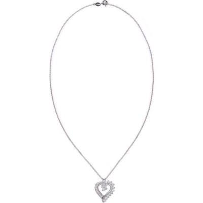 メイシーズ Macy's ユニセックス ネックレス ジュエリー・アクセサリー Simulated Rounds and Cubic Zirconia Baguettes Heart Pendant Necklace Silver