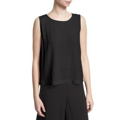 エイリーンフィッシャー レディース シャツ トップス Plus Size Sleeveless Short Silk Georgette Shell