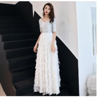 ウエディングドレス ロングドレス 2020新作 イブニングドレス 上品 大人 パーティードレス 結婚式 発表会 顔合わせ 披露宴 前撮り 成人式