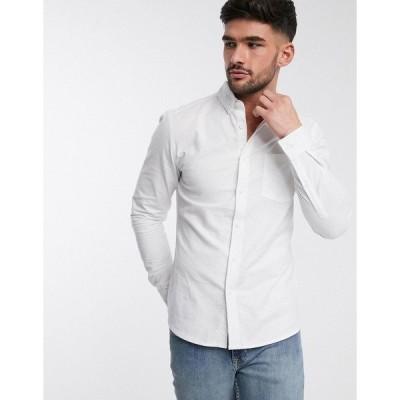 エイソス メンズ シャツ トップス ASOS DESIGN organic skinny fit casual oxford shirt in white White