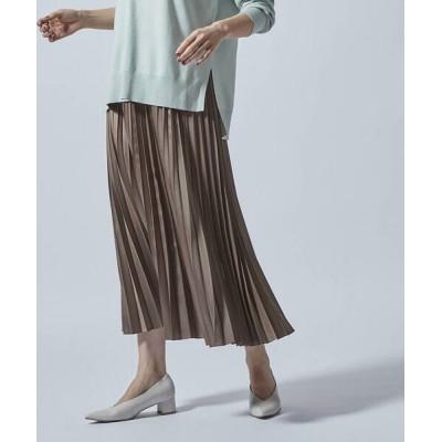 LAUTREAMONT/ロートレアモン アコーディオンプリーツのレザー風スカート ブラウン 7号