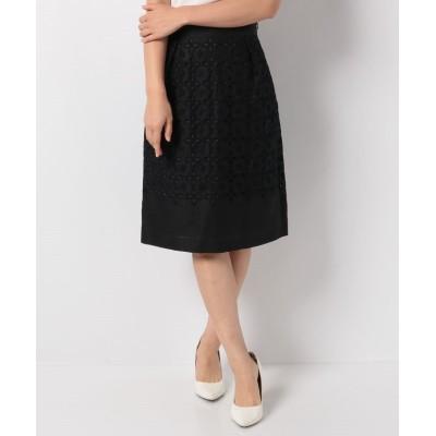 【アナイ】 リネン刺繍ハイウエストスカート レディース ブラック 36 ANAYI