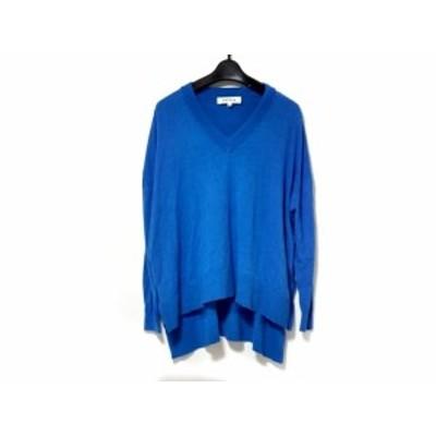エンフォルド ENFOLD 長袖セーター サイズ36 S レディース ブルー Vネック/フィッシュテール/シルク混【中古】20200605