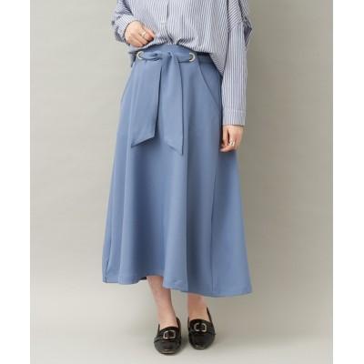【丈長で上品に】ハトメリボンAラインスカート