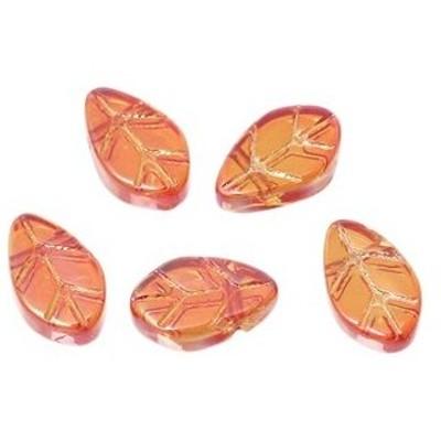 葉っぱ型のガラスビーズ5個【ガラスビーズ】(オレンジレッド系カラー)(11mm×6mm)