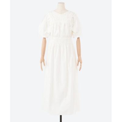 <CASA FLINE(Women)/カーサフライン> ボリュームスリーブドレス WHITE【三越伊勢丹/公式】