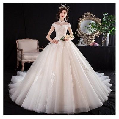 ウェディングドレス 白 ブライダルドレス フォーマルドレス 締上げタイプ Aライン パーティー 大きいサイズ ロングドレス トレーンドレス 結婚式花嫁