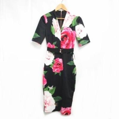 【中古】テッドベーカー TED BAKER Gilanno Magnificent Bodycon Dress ワンピース ドレス 総柄 花柄 フワラー 0