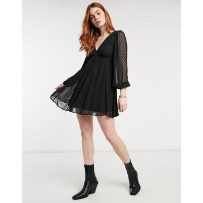 エイソス レディース ワンピース トップス ASOS DESIGN long sleeve textured mini dress with flare panels and lace up back in black