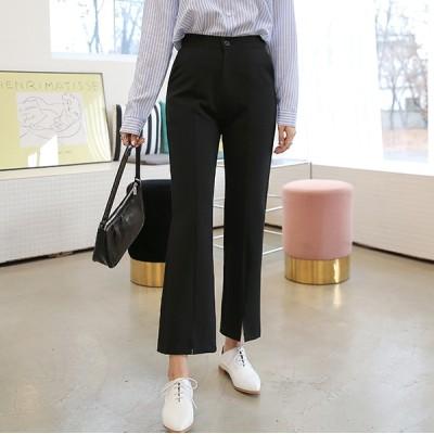 [bbaebbae] 隠しウエストゴム ストレッチ抜群 フロントスリット スラックス(送料無料)おしゃれなシルエットのファッションコーデー提案ハイクォリティー/韓国ファッション
