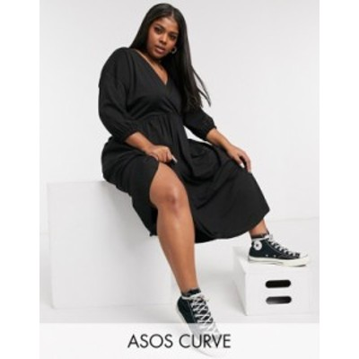 エイソス レディース ワンピース トップス ASOS DESIGN Curve midi smock dress with wrap top in black Black