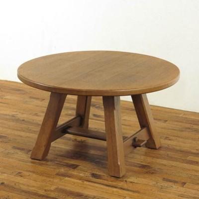 大きめサイズのオーク材コーヒーテーブル オランダ家具 オーク材 丸型 素朴かわいい ローテーブル 60650