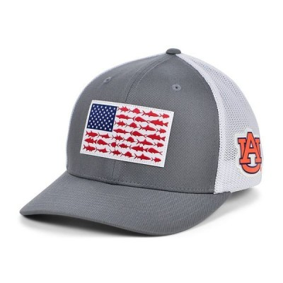 コロンビア 帽子 アクセサリー メンズ Auburn Tigers PFG Fish Flag Stretch-Fitted Cap Charcoal/White