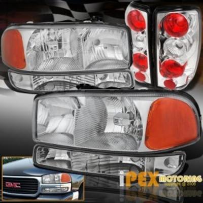 テールライト クロムセット:2000-2006 GMC YukonヘッドライトシグナルバンパーW リアテールランプ Chrom