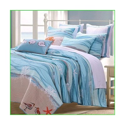 Finely Stitched Coastal Seaside Cottage Quilt Set with Shams Sea Shell Print Pattern Ocean Blue 100 Cotton Luxury Reversible Single Twin Siz