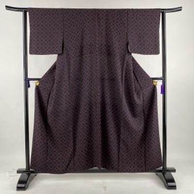 小紋 美品 秀品 幾何学 黒 袷 身丈159cm 裄丈63cm S 正絹 中古