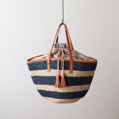 ■「ジュート鞄」横長 かごバッグ トート バッグ しましま ボーダー 巾着 タッセル 牛革レザーN76A