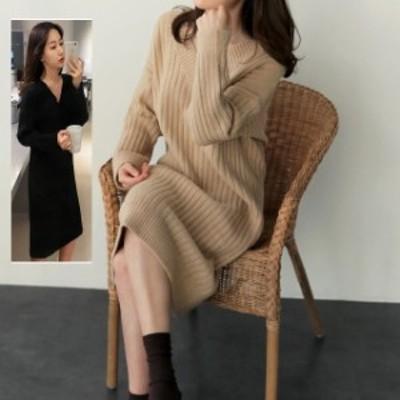 ニットワンピース ロング セーター Vネック スリーブ ひざ下丈 無地 Hタイプ S-XL きれいめ 黒 ベージュ ニットドレス 韓国 ファッション