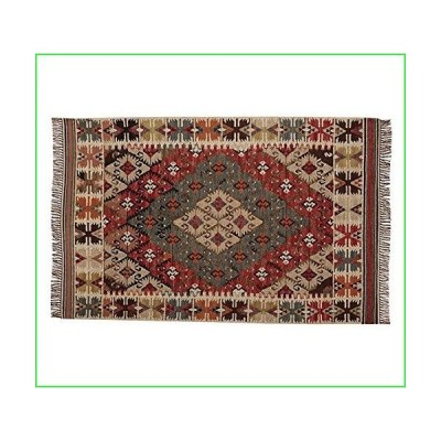 Allen Home RF06 Woolen Kilim Recycled Yarn Kilim Indoor/Outdoor Wool Area Rug Multi 5'X8' Flatweave Persian Traditional Wool Rug Carpet (4'X