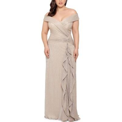 エックススケープ XSCAPE レディース パーティードレス 大きいサイズ ワンピース・ドレス Plus Size Off-The-Shoulder Shimmer Gown Gold