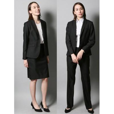 【タカキュー】 リクルート3ピーススーツ (2釦テーラードジャケット+タイトスカート+ストレートパンツ)無地/就活 レディース ブラック LL(XL) TAKA-Q