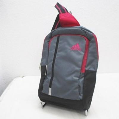 【中古】アディダス adidas ボディバッグ ロゴ刺繍 グレー ピンク ブラック 黒 レディース