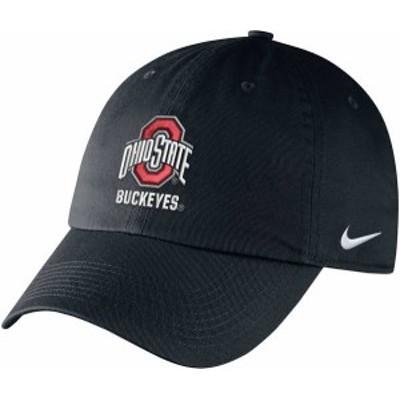 ナイキ メンズ 帽子 アクセサリー Nike Men's Ohio State Buckeyes Campus Adjustable Black Hat