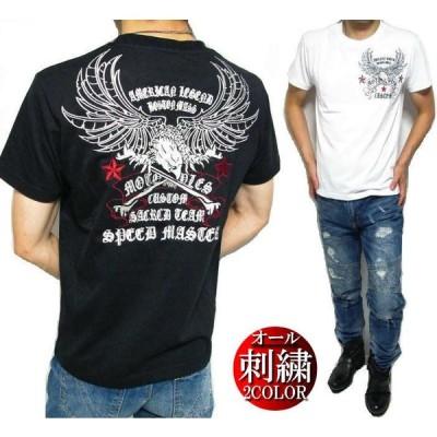 Tシャツ メンズ オール 刺繍/イーグル/ボーン トップス 半袖