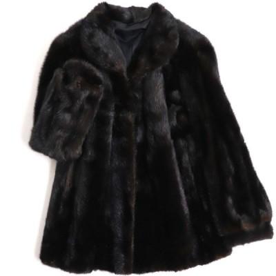 極美品▼TOWNY MINK ミンク 逆毛 本毛皮コート ダークブラウン(ブラックに近い) F 毛質艶やか・柔らか◎