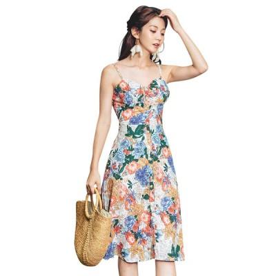 サマードレス レディース Aライン ノースリーブ 単品 韓国 ファッション バックシャン シービーチ キャミソール ワンピース 花柄 上品 エレガント フェミニン