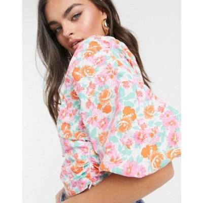 エイソス ASOS DESIGN レディース ブラウス・シャツ トップス cotton fallen shoulder wrap top with volume sleeve in floral print マルチカラー