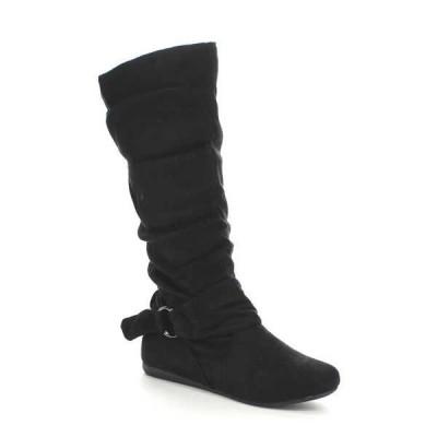 ブーツ シューズ 靴 海外厳選ブランド Forever レディース Cosy アンクルストラップ ウイズ リング Deco ミドル丈 Slouch ブーツ SELENA-67 BLACK